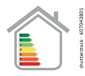 house and energy efficiency... | Shutterstock .eps vector #607043801
