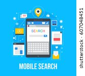 mobile search flat vector ... | Shutterstock .eps vector #607048451