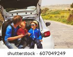 family car travel   father with ... | Shutterstock . vector #607049249