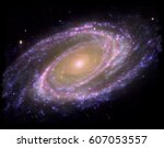 colorful spiral galaxy  some... | Shutterstock . vector #607053557