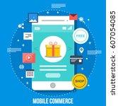 mobile shopping  e commerce... | Shutterstock .eps vector #607054085