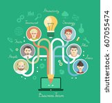 business people group over... | Shutterstock .eps vector #607055474