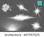 set. shining star  the sun... | Shutterstock .eps vector #607057025