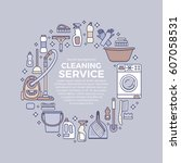 household cleaning supplies... | Shutterstock .eps vector #607058531