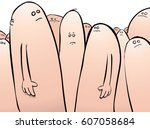 man being bullied and judged in ... | Shutterstock .eps vector #607058684