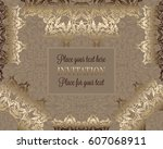 luxury ornament  lace in... | Shutterstock .eps vector #607068911