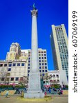 Small photo of San Francisco, California - February 11, 2017: Beautiful view of Dewey Monument in Union Square in the popular and cultural downtown area.