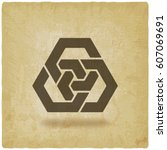 abstract interlocking hexagons... | Shutterstock .eps vector #607069691