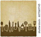 menu or recipe book design. set ... | Shutterstock .eps vector #607069745