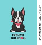 dog breed french bulldog. the... | Shutterstock .eps vector #607071194