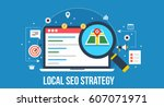 flat concept of local seo... | Shutterstock .eps vector #607071971
