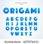 vector origami alphabet. letter ... | Shutterstock .eps vector #607076411