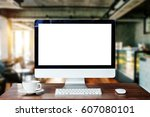 computer monitor  keyboard...   Shutterstock . vector #607080101