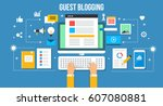guest posting  writing ... | Shutterstock .eps vector #607080881