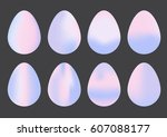 collection of happy easter eggs ... | Shutterstock .eps vector #607088177