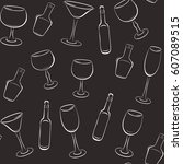 pattern of wine glasses and...   Shutterstock .eps vector #607089515
