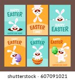 set of six happy easter... | Shutterstock .eps vector #607091021