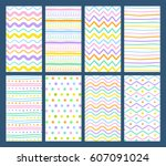 set of eight hand drawn... | Shutterstock .eps vector #607091024