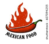 mexican food. chili pepper with ... | Shutterstock .eps vector #607094255