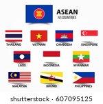 flag of asean   association of... | Shutterstock .eps vector #607095125