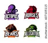 furious octopus  horse  bear... | Shutterstock .eps vector #607105115