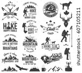 hiking club badges with design... | Shutterstock .eps vector #607105211