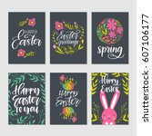 vector set of hand drawn easter ... | Shutterstock .eps vector #607106177