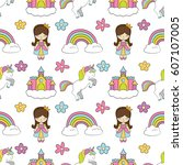 seamless baby pattern with cute ... | Shutterstock .eps vector #607107005