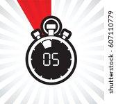 five minute stop watch countdown | Shutterstock .eps vector #607110779