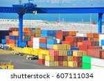 port cargo crane and container  ... | Shutterstock . vector #607111034