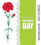 vector card for mother's day... | Shutterstock .eps vector #607113821