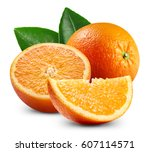 ripe orange isolated on white... | Shutterstock . vector #607114571
