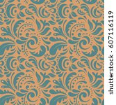 seamless damask pattern.... | Shutterstock .eps vector #607116119
