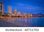 Waikiki Beach, Hotels, Resorts and Diamond Head Crater on Oahu Island, Hawaii, USA - stock photo