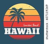 hawaii lanikai beach tee print... | Shutterstock .eps vector #607119269