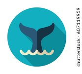 whale tail vector icon. beach.... | Shutterstock .eps vector #607119959