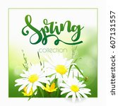 spring time on background with... | Shutterstock .eps vector #607131557