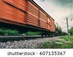 freight train  railway wagons... | Shutterstock . vector #607135367