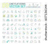 vector graphic set.icons in... | Shutterstock .eps vector #607136144