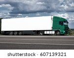 truck on road with white blank... | Shutterstock . vector #607139321
