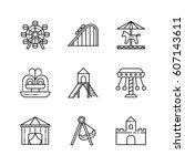 amusement park icon set.... | Shutterstock .eps vector #607143611
