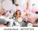 beautiful little girl...   Shutterstock . vector #607147151