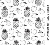 seamless pattern with the image ... | Shutterstock .eps vector #607148585