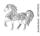 hand drawn zentangle horse for... | Shutterstock .eps vector #607149551