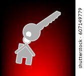 key with keychain as an house... | Shutterstock .eps vector #607149779