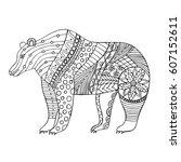 zentangle stylized cartoon bear.... | Shutterstock .eps vector #607152611