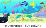 ocean fish scene horizontal... | Shutterstock .eps vector #607156247