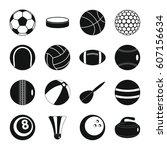 sport balls icons set. flat... | Shutterstock .eps vector #607156634