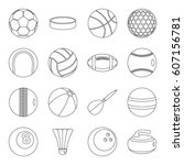 Sport Balls Icons Set. Outline...
