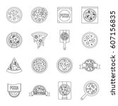 pizza icons set food. outline... | Shutterstock .eps vector #607156835